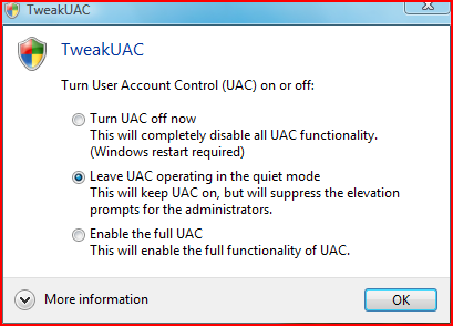 TweakUAC interface