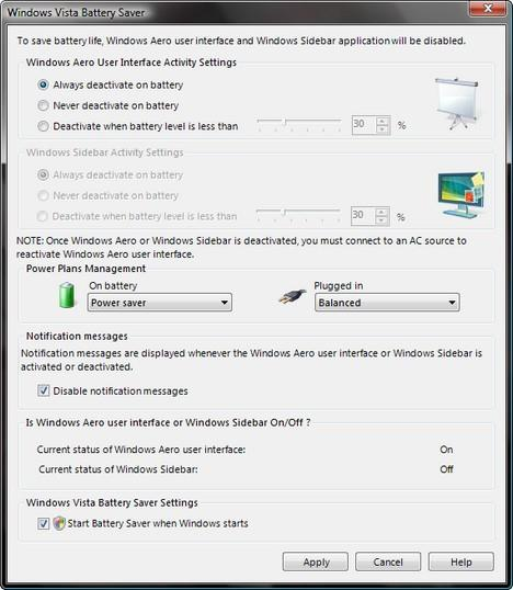 Windows Vista Battery Saver