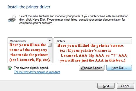 Printer Installation