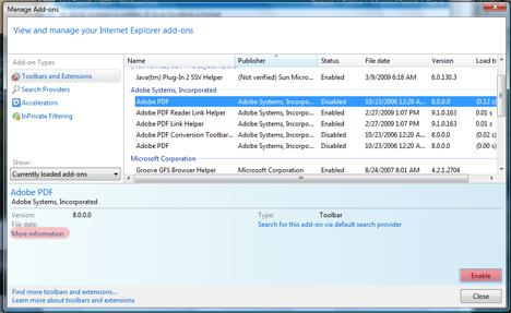 Internet Explorer 8 Add-ons