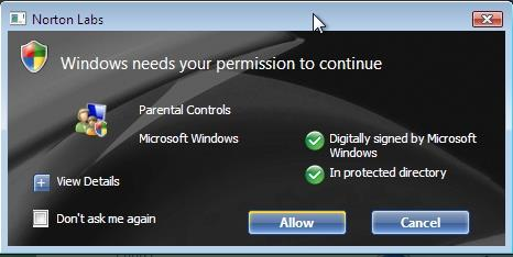 Norton User Account Control
