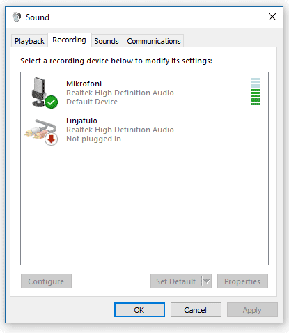 Green Bars in Recording devices Windows 10