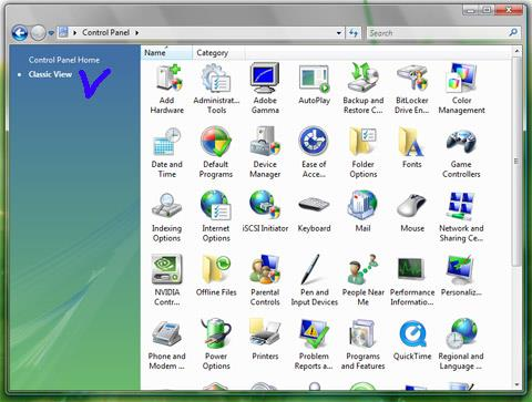 Windows Vista Control Panel - Classic View