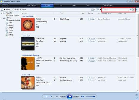Windows Media Player Search