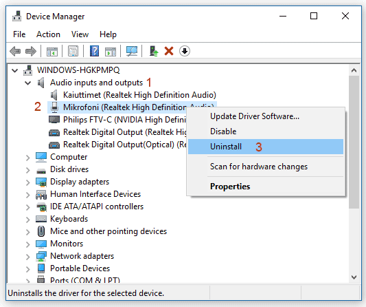 Device Manager Audio in Windows 10
