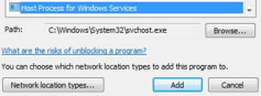 Adding svchost to Windows Firewall