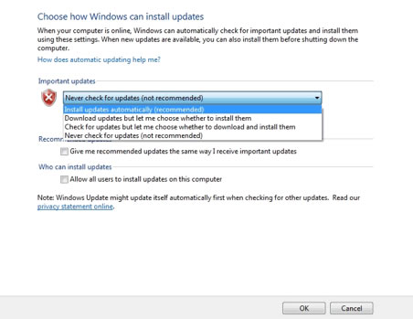Windows Update settings screen