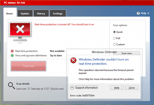 Fix 0x800705b4 Error in Windows Update and Windows Defender